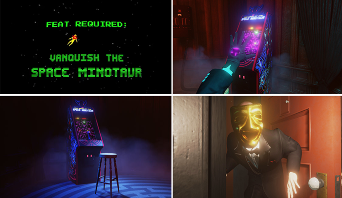 Der Minotaurus gehört zu einem 8-Bit Game im Spiel. Aber dann bricht er aus...
