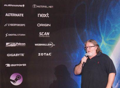 """Da war der """"Papa von Valve"""", Gabe Newell noch zufrieden.  Die erste Ankündigung der """"SteamBox"""" brachte eine Menge Hardware-Partner mit sich."""