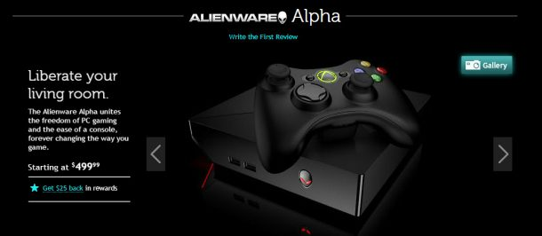 Alienware sah sich gezwungen, die für SteamOS angedachte Hareware mit Windows + Xbox 360 Controller auszuliefern.