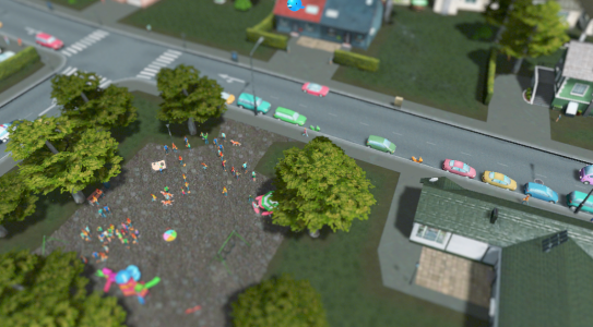 Es wuselt auf dem Spielplatz. Auch schön - parkende Autos im Wohngebiet.