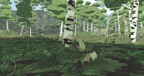 Wir machen eine Jagdpause im Wald.