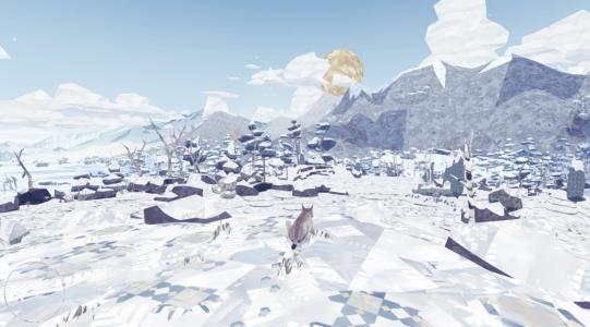 Wir blicken über eine Winterlandschaft in die Ferne.
