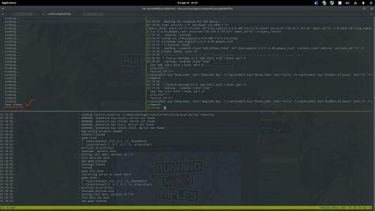 """Während mit """"php start*.php debug_outpout"""" rechts hochfährt, rattert links im ./launch_server erneut ein Loading durch."""