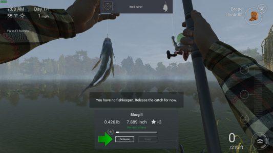 Mein erster Fang, juhu! Übrigens: Nach dem Tutorial kann das Spiel in den Optionen auf Deutsch umgestellt werden.