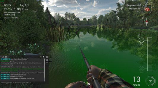 Im Multiplayer-Chat kann ich Tipps anderer Angler mitverfolgen. Oder selbst ein bisschen Fachsimpeln.