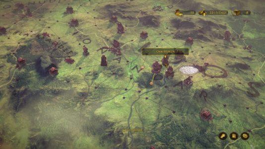 Die Zwerge (The Dwarves): Auf der Strategiekarte werden die Helden verschoben, um den Orks Einhalt zu bieten.