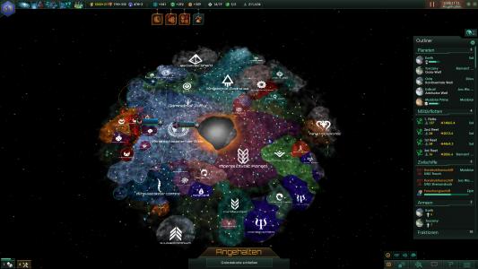 Galaxieübersicht eines fortgeschrittenen Spiels.