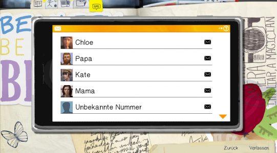 Max's erhält auf ihr Smartphone immer wieder SMS von Freunden wie Feinden. Das hängt mit den getroffenen Entscheidungen zusammen.