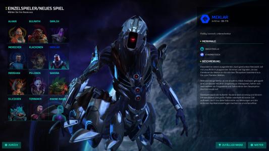 Master of Orion bietet die Wahl zwischen 10 Rassen (mit DLC 11)