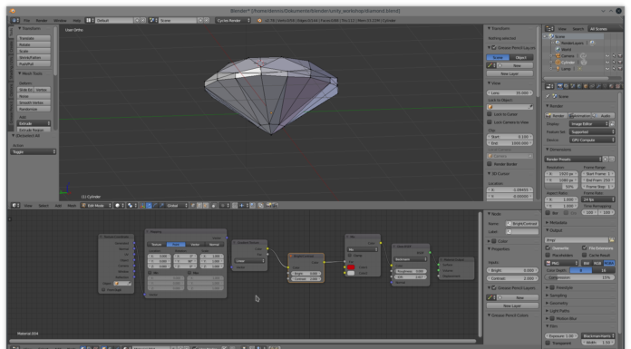 Ein Diamant wird im freien 3D-Programm Blender erstellt.
