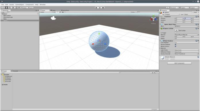 Die erste Kugel wird im Unity-Editor platziert und bearbeitet.