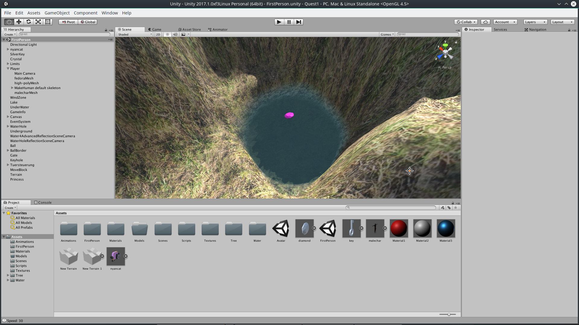Der in Blender erstellte Diamant wird in der Spielwelt im Unity-Editor platziert.